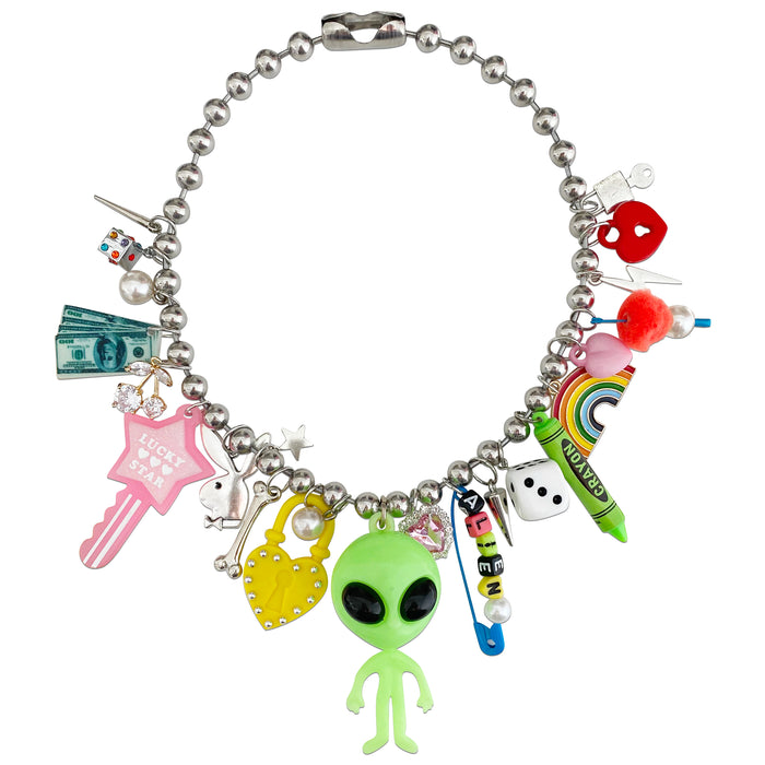 90'S Glow ALIEN Charm Necklace