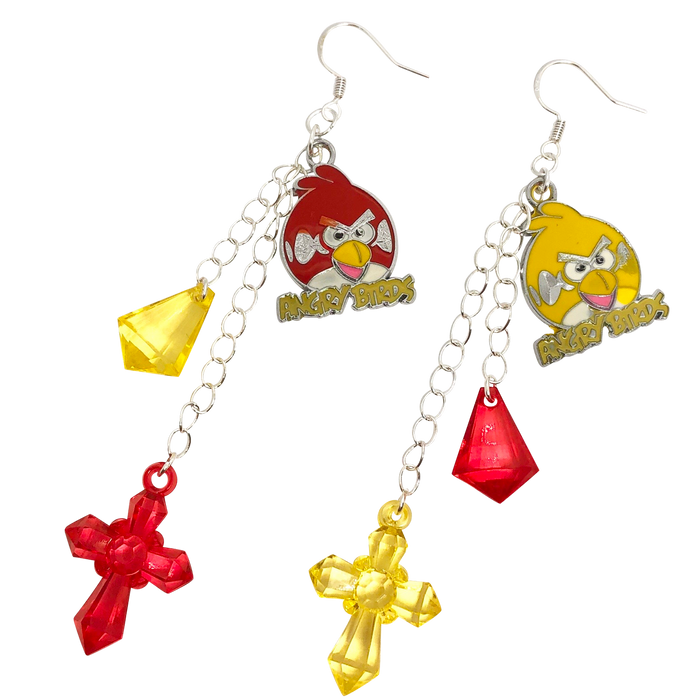 Vintage Angry Birds Charm Earrings