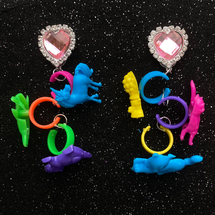 90's Lisa Frank Ring Charm Earrings