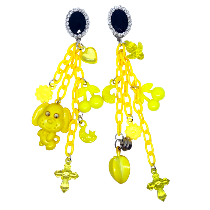 Vintage Black And Yellow Charm Earrings (4388169416787)