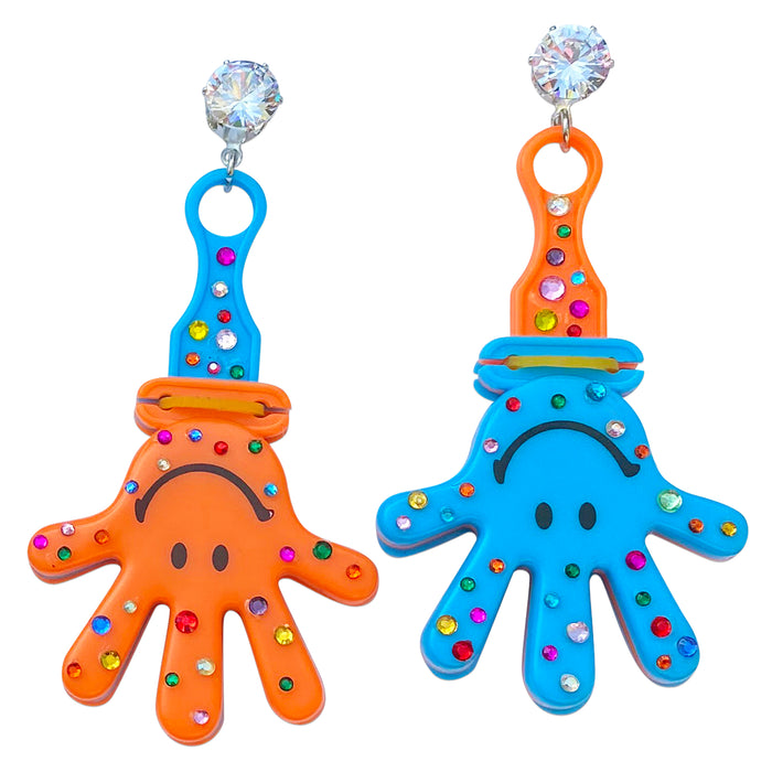 Bedazzled Smiley Clackers Charm Earrings