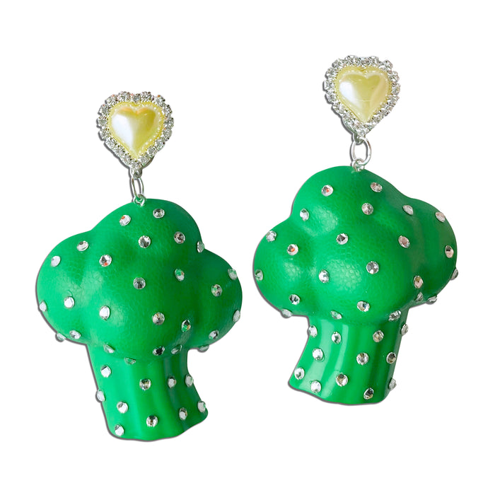 Bedazzled Toy Broccoli Earrings