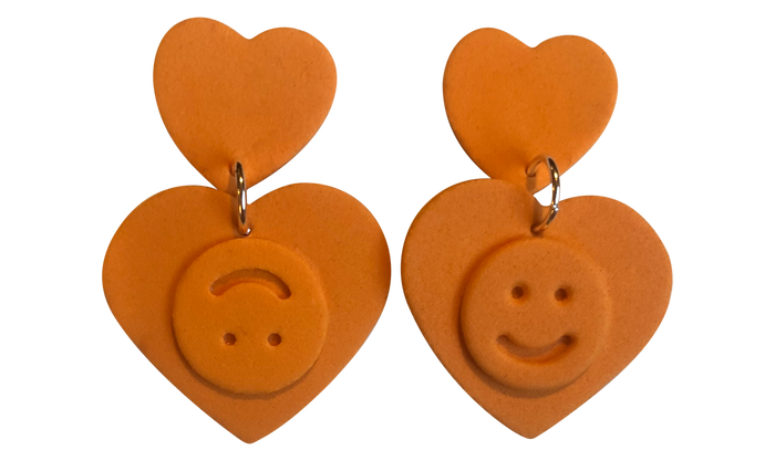 ORANGE DOUBLE HAPPINESS EARRINGS