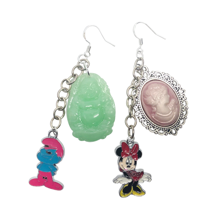 Vintage 80's Cartoon Zen Charm Earrings
