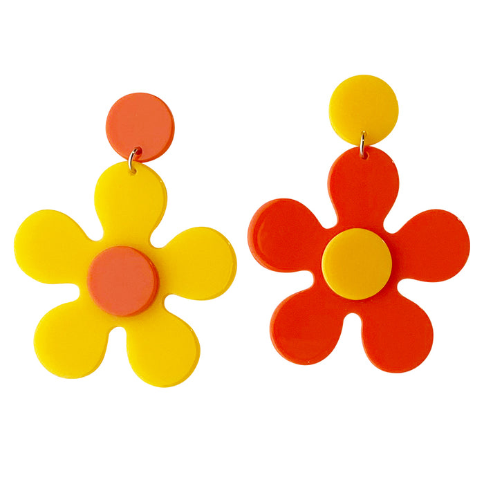 Desert Sunrise Daisy Drop Earrings