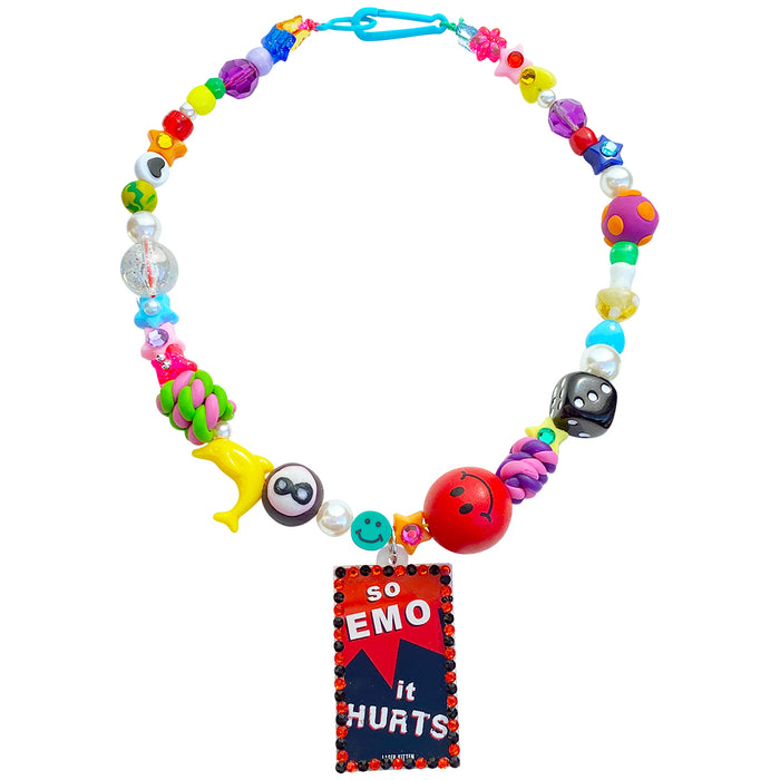 So Emo It Hurts Beaded Charm Necklace