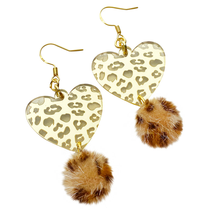 Gold Leopard Mirror Charm Earrings