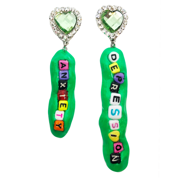 Green Anxiety Depression Charm Earrings