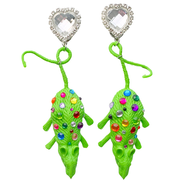 Bedazzled Rat Charm Earrings