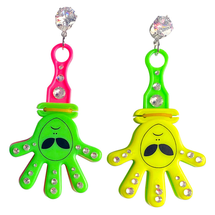 Bedazzled Alien Clackers Charm Earrings