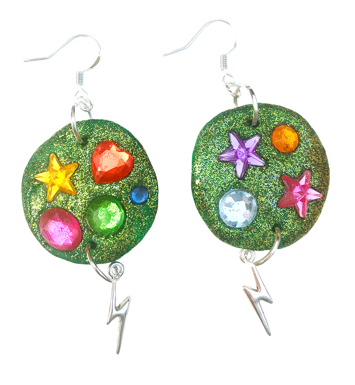 Green Planet Unicorn Earrings