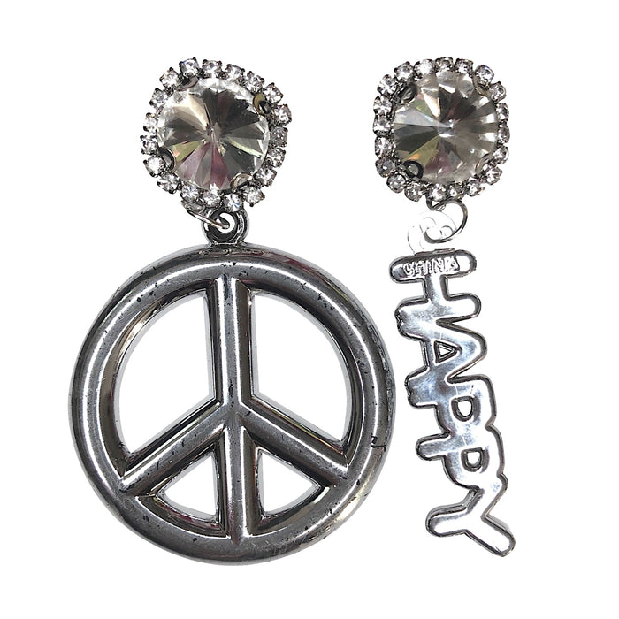 Vintage Peace Love Happiness Charm Earrings (4374462300243)