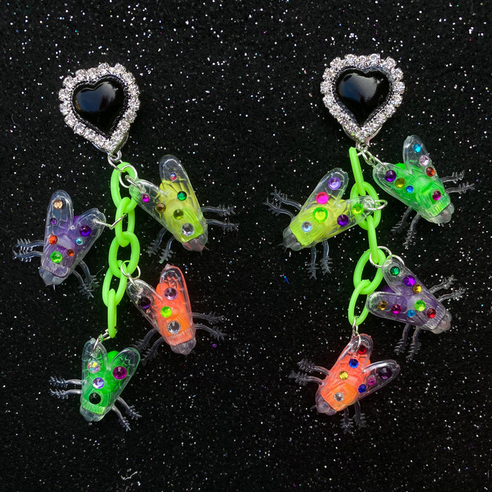 Bedazzled Fly Charm Earrings