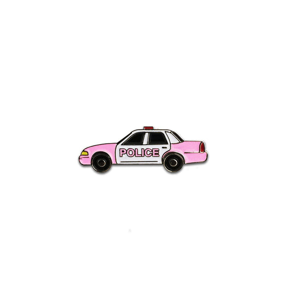 "We teamed up with our favorite Tokyo based artist Yoko Honda to bring you this adorable 1"" pink cop car pin. Don't get caught by the fashion police without one!   1"" wide soft enamel pin.   Cop Car 1"" wide. Black nickel-plated, soft enamel, butterfly clasp back.   Made in the USA."