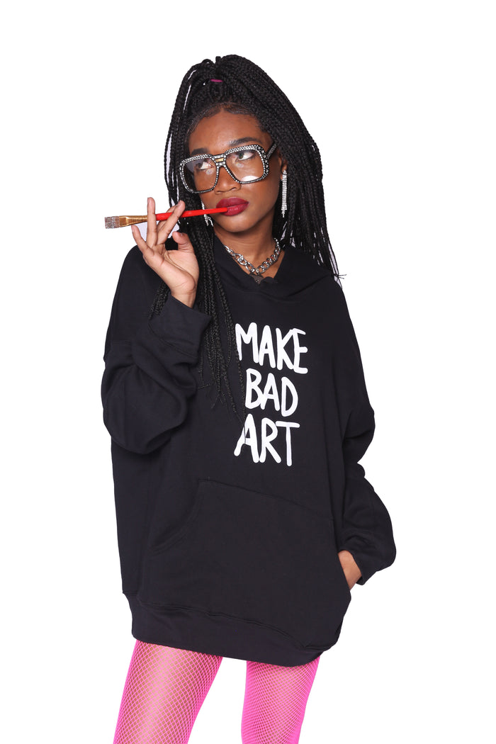 MAKE BAD ART FLEECE HOODIE-Laser Kitten