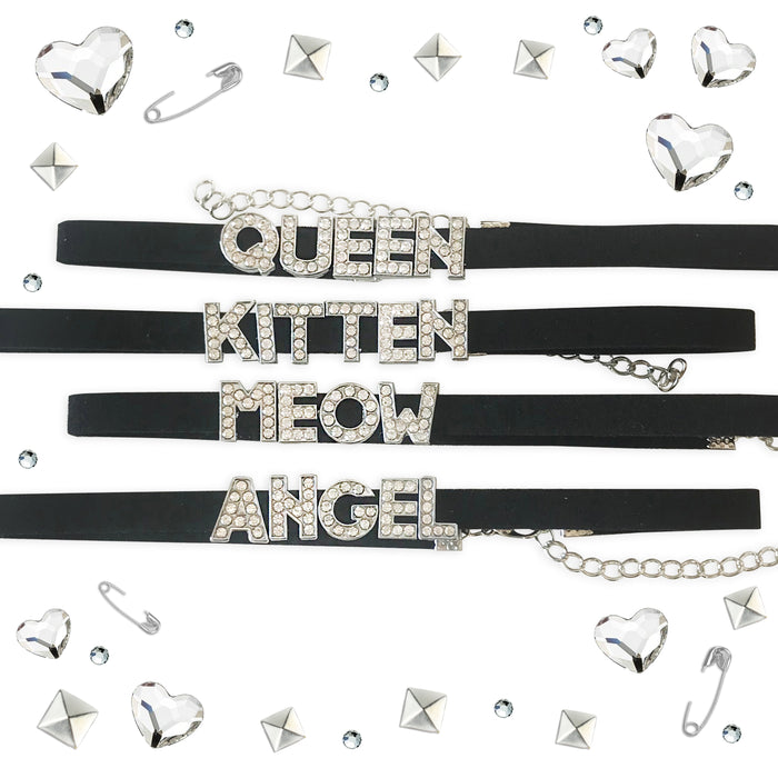 CRYSTAL STATEMENT CHOKERS-Laser Kitten
