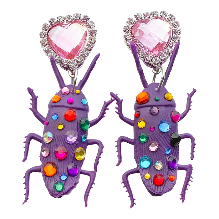 Bedazzled Cockroach Charm Earrings