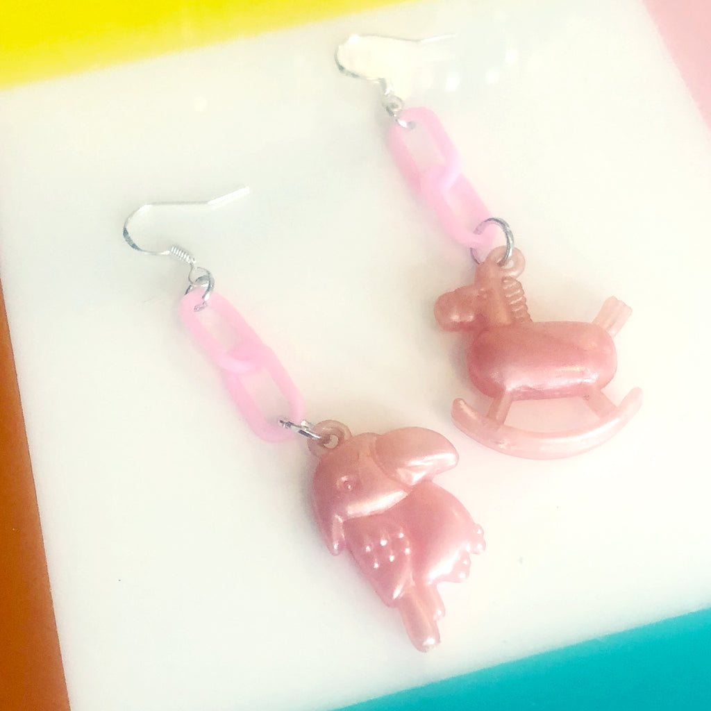 Vintage Rocking Horse Charm Earrings