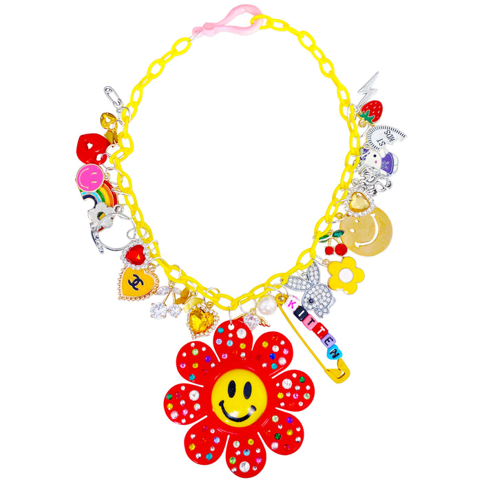 Smiley Flower Power Charm Necklace