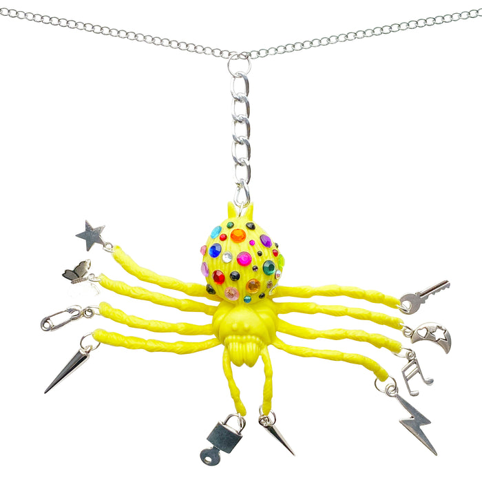 Bedazzled Spider Charm Necklace