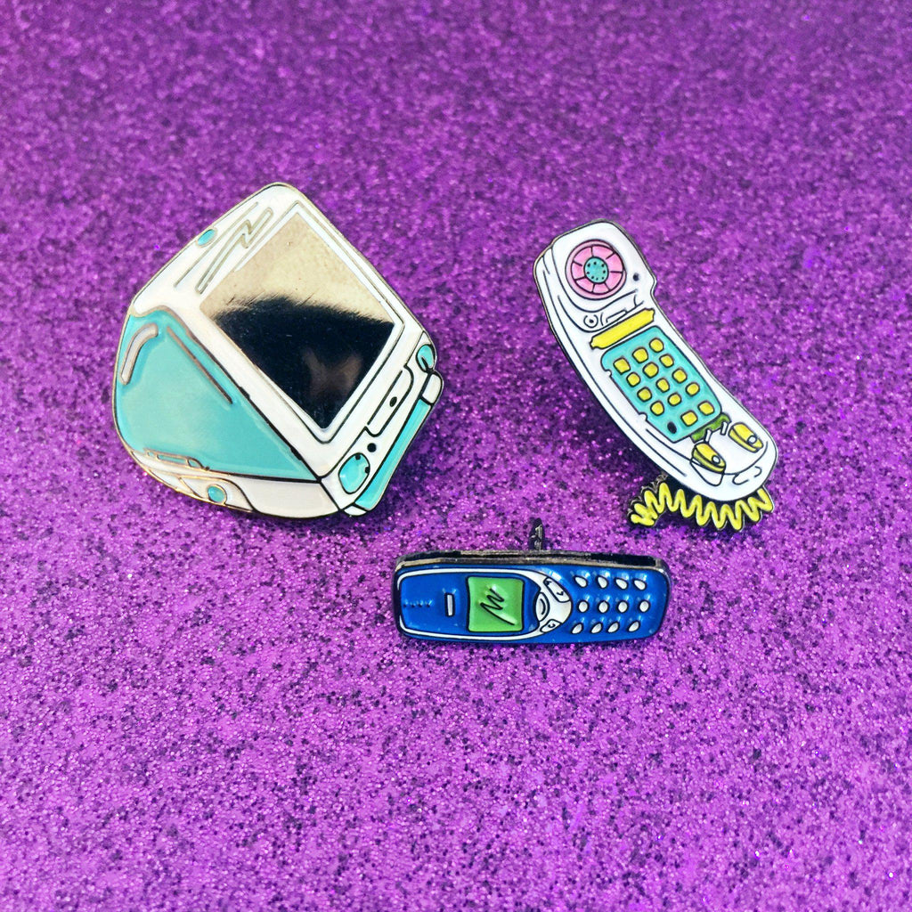 90's Cell Phone Pin-Laser Kitten