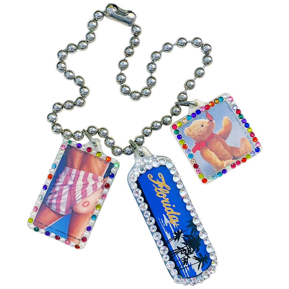 Kiss My Ass in Florida Sassy Bedazzled Vintage Keychain Necklace