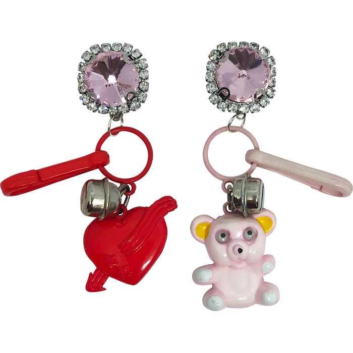Vintage Teddy Bear Charm Earrings