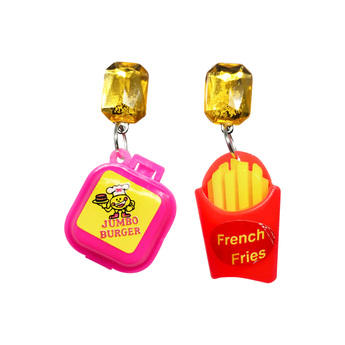 Vintage Burger + Fries Earrings