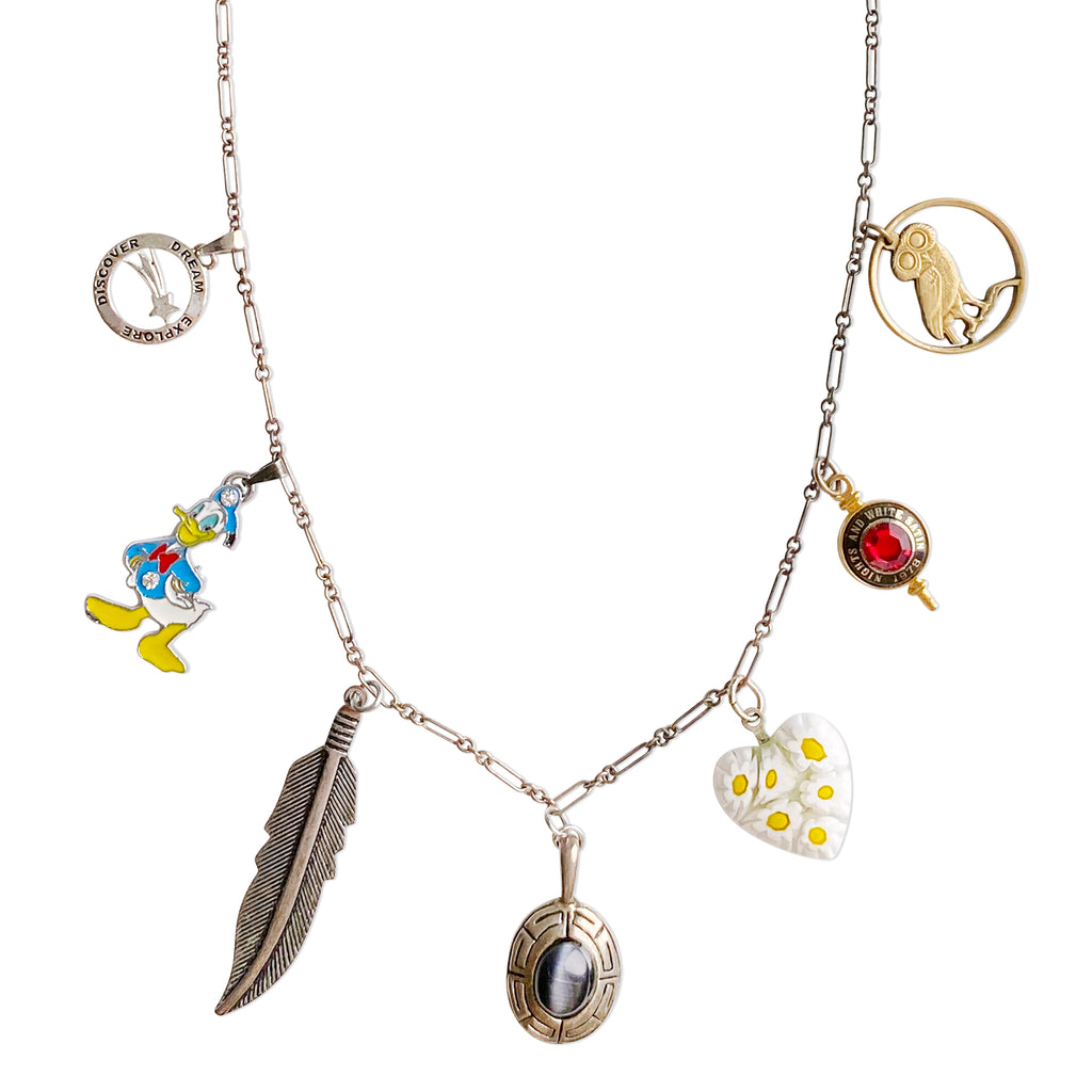 Light As A Feather Vintage Remix Charm Necklace