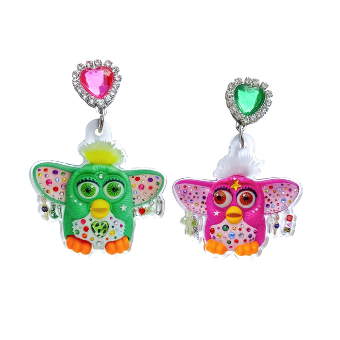 Bedazzled Furby Wearing Earrings Earrings