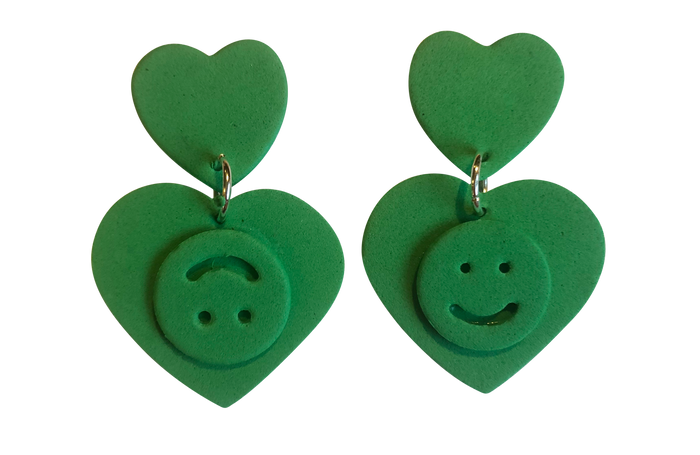 GREEN DOUBLE HAPPINESS EARRINGS