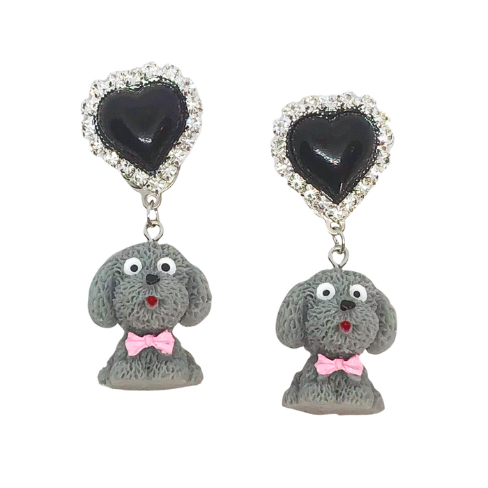 Grey Dog Charm Earrings