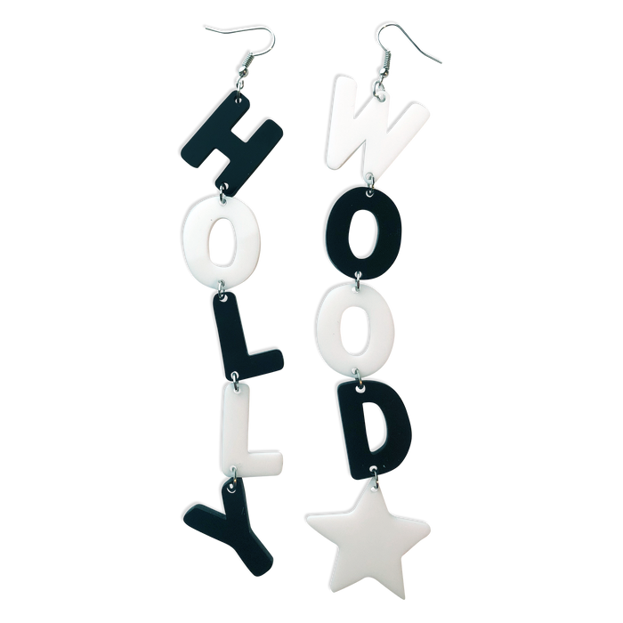 B&W HOLLYWOOD STAR EARRINGS (4380453601363)