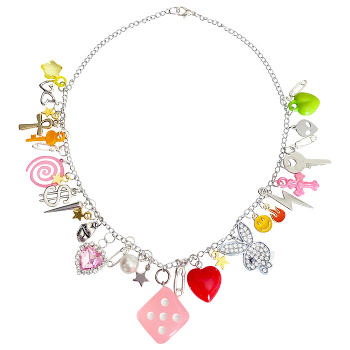 Pink Dice Charm Necklace