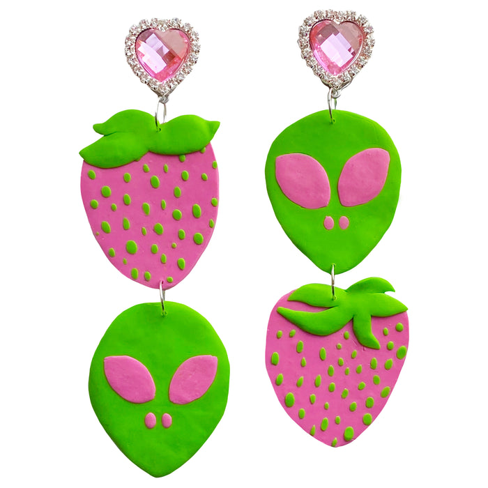 Pink Alien Strawberry Earrings