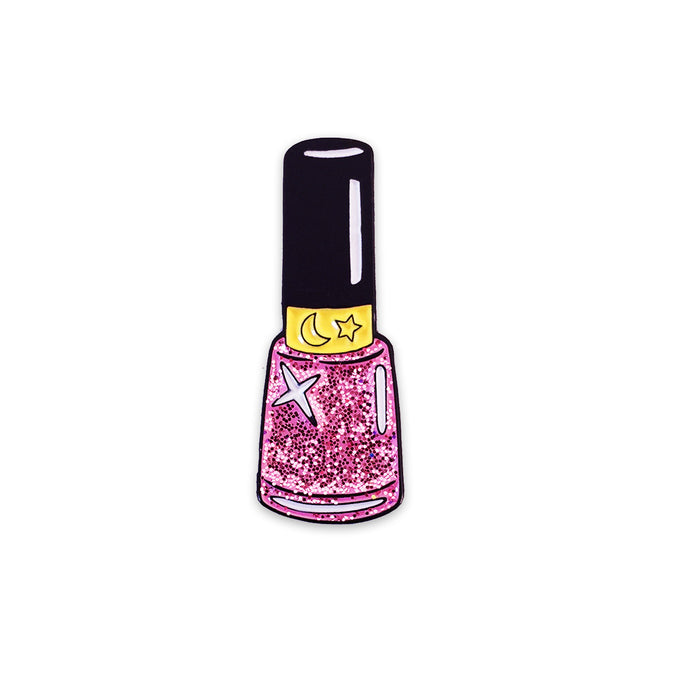 Pink Moon Sparkle Nail Polish Pin-Laser Kitten