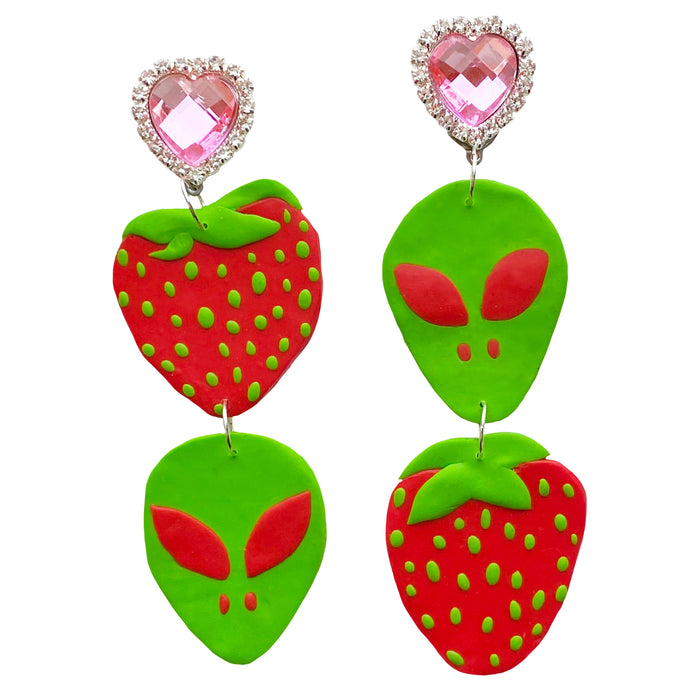Red Alien Strawberry Earrings
