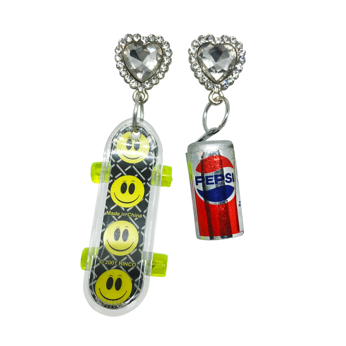 Vintage Skateboard + Soda Earrings