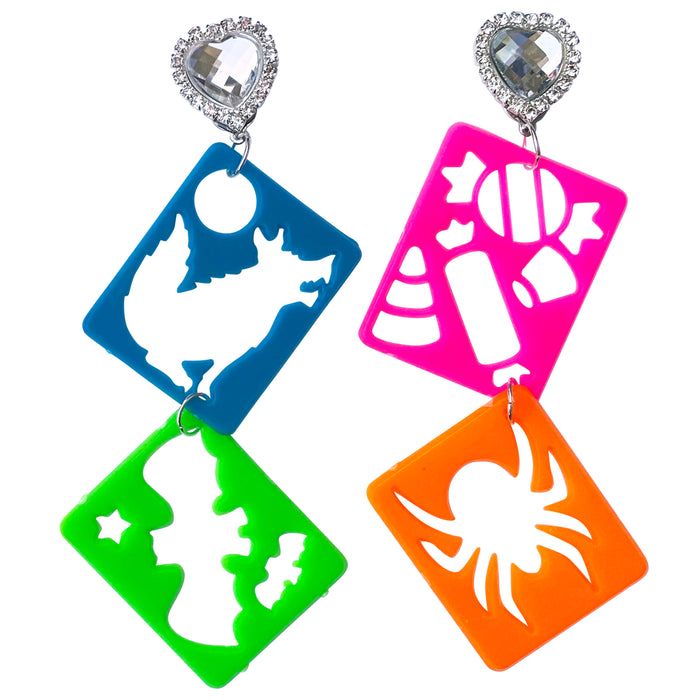 Lisa Frank 90's Halloween Stencil Charm Earrings