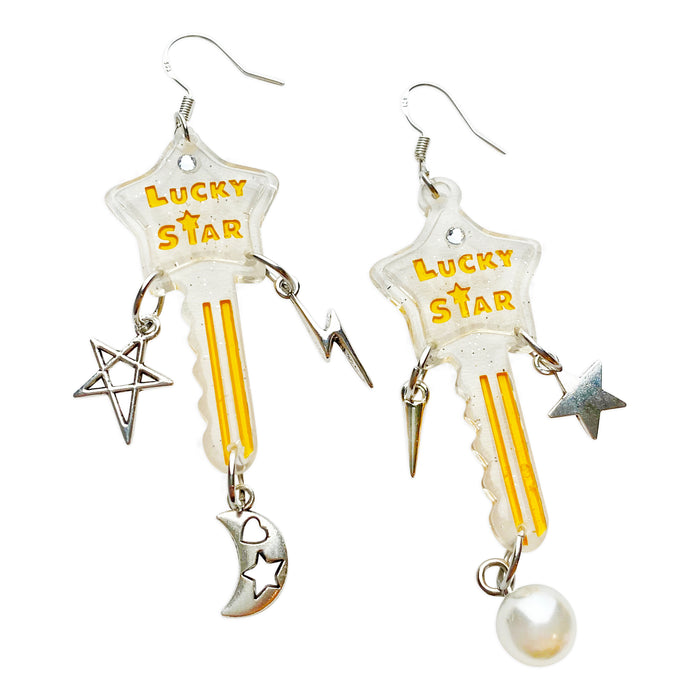 Yellow Lucky Star Key Charm Earrings
