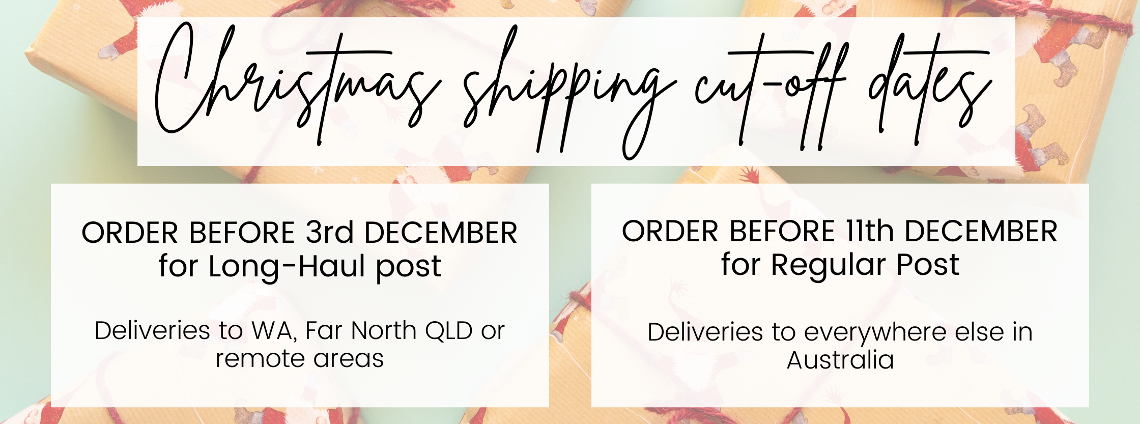 Christmas Gift Shipping Cut off Dates for 2020