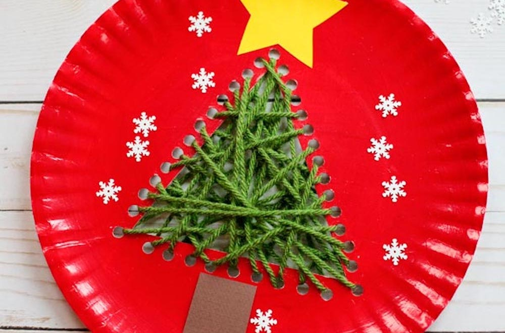 Simple paper plate christmas tree craft for kids