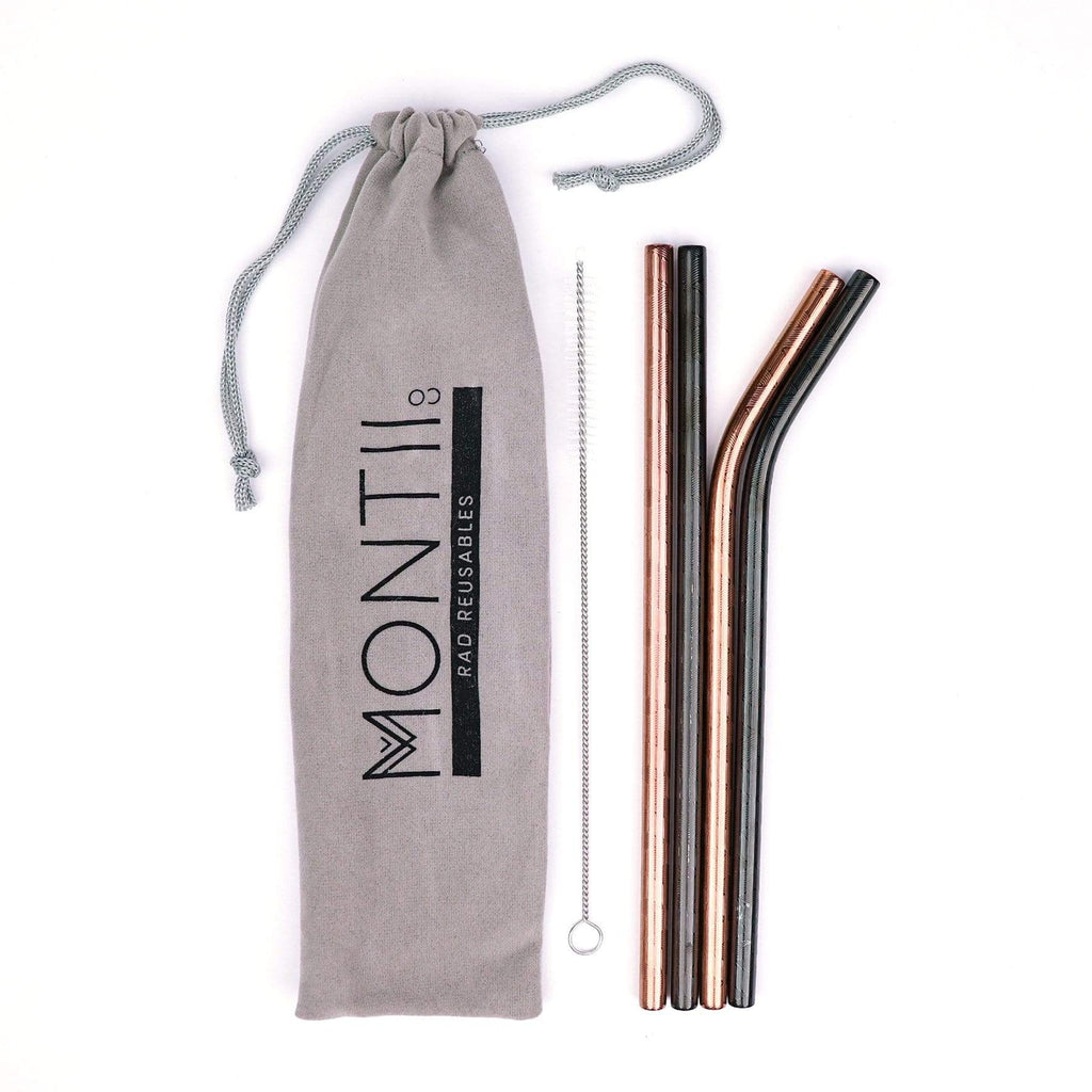 MontiiCo Stainless Steel Straw Set - Geo Pattern