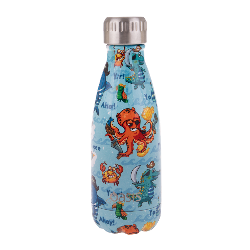 Oasis 350ml drink bottle made with stainless steel in a pirate bay print