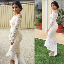 Load image into Gallery viewer, Long sleeve lace sexy dress with hips and shoulder