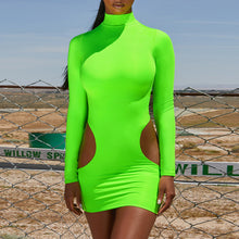 Load image into Gallery viewer, Sexy hollow high neck long sleeve dress