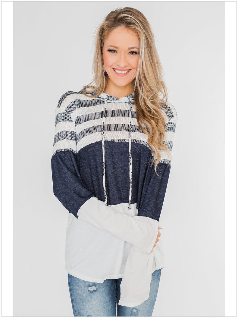 Hoodie pullover long sleeve contrast sweater