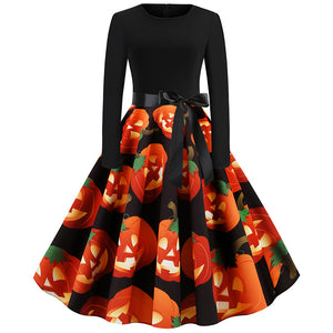 Pumpkin Print Long Sleeve Belted Halloween Midi Dress