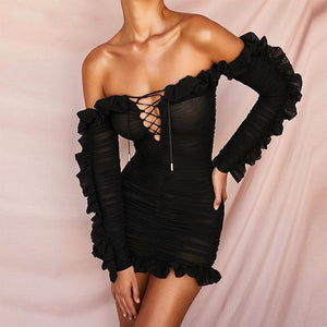 Deep V cut out lace up Ruffle Long Sleeve Dress