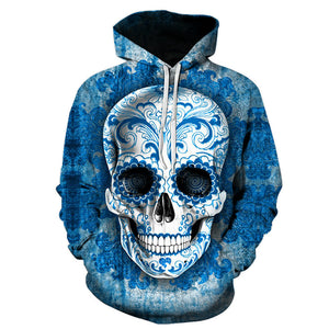Butterfly skull cool 3D digital printing hooded sweater